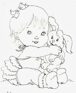 desenho bebe menina com coelhinho para pintar