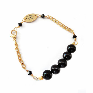 onyx bracelet, elisha francis, jewelry, jewellery, handmade, gold bracelet
