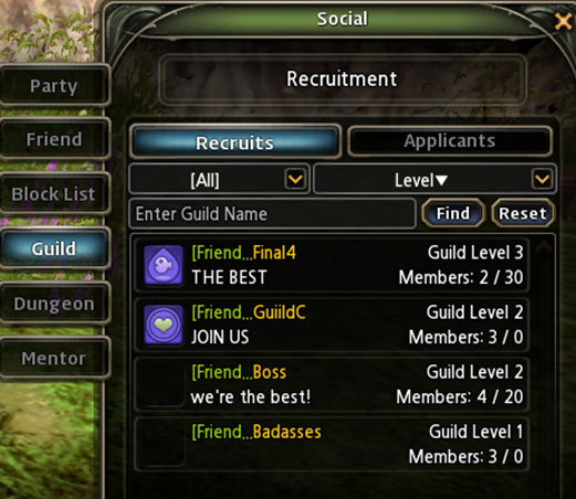 MMORPG Guild Exp and Levels