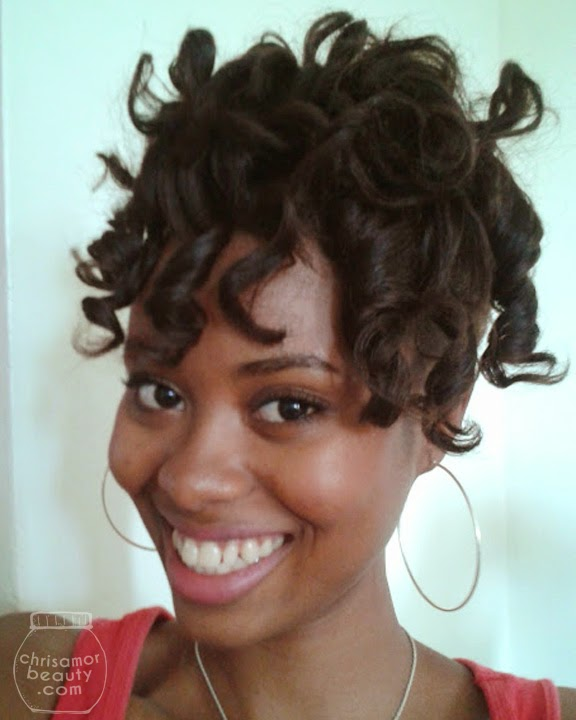Flexi-rod set on relaxed hair using purple and orange flexi-rods and Elasta QP Design Silk