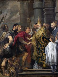 Pintura de Van Dyck, Teodosio I y San Ambrosio.