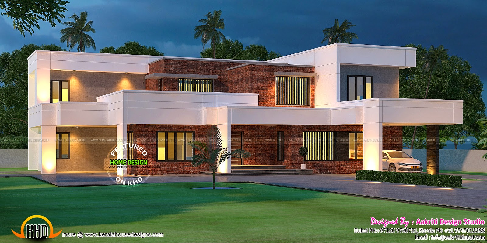 contemporary house with laterite stone wall - kerala home design