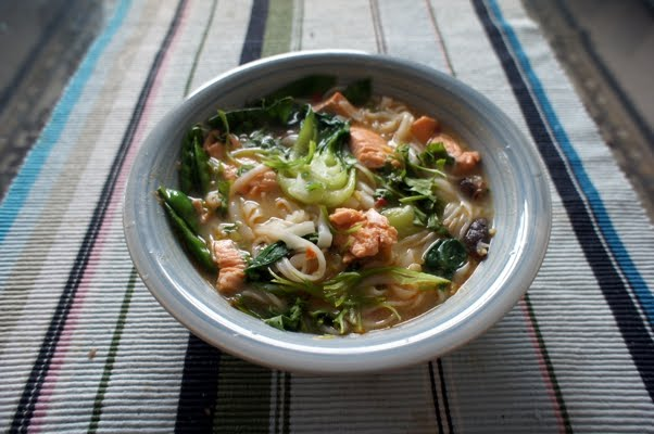 Slippery Thin Rice Noodles Bulked The Soup Out While The Pak Choi And Mange Tout Added Essential Crunch I Had Hoped To Grill The Skin From The Rainbow