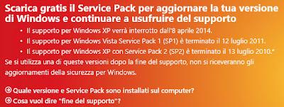 Comunicato Microsoft fine aggiornamenti XP