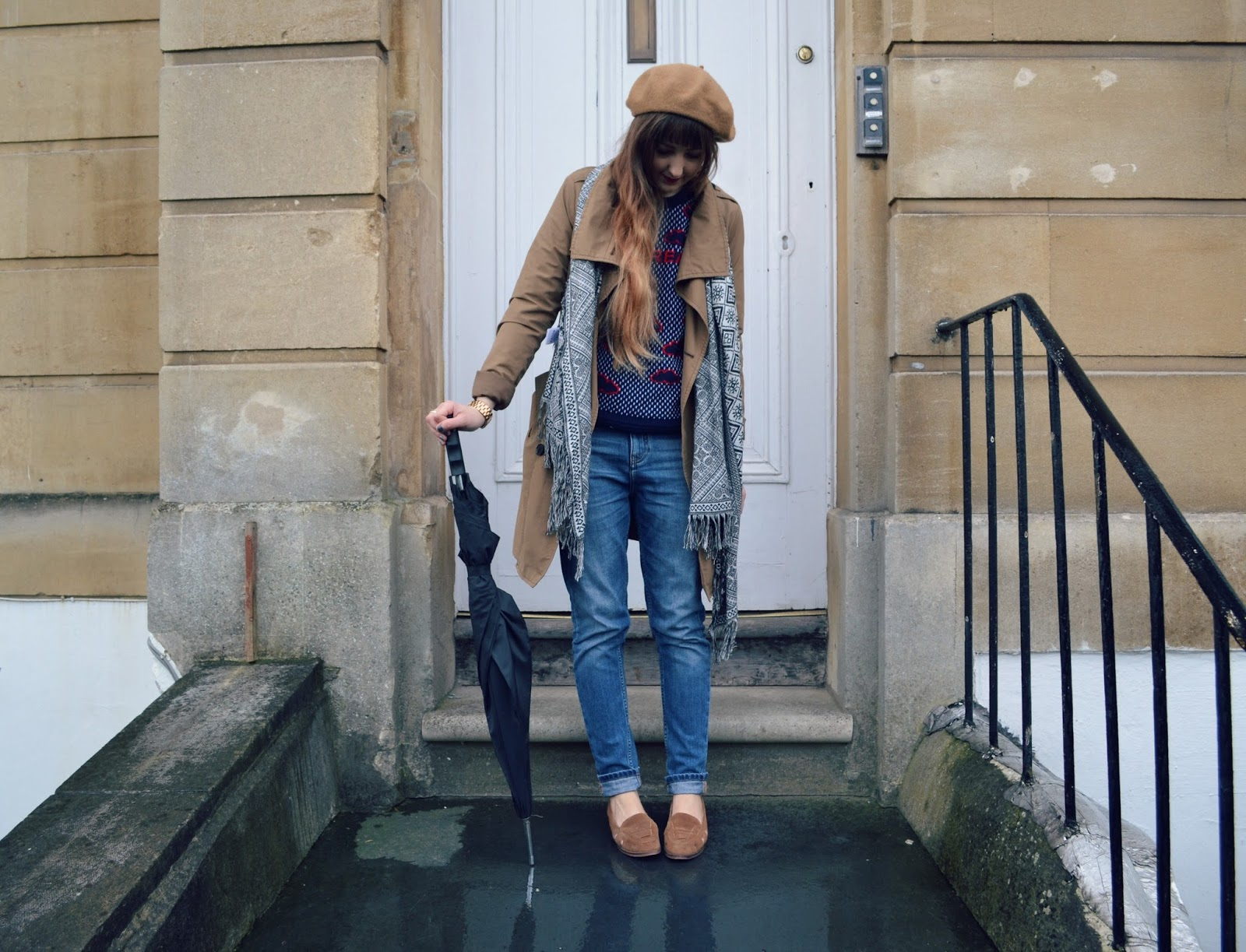 topshop loafers whistles boyfriend jeans gap trench urban outfitters scarf