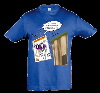 "Camiseta manga corta para niños y niñas ""Problemas"" color azul"