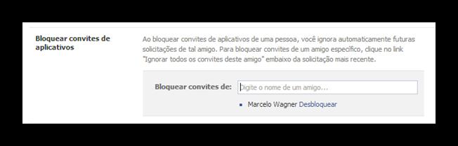 Bloquear convites de aplicativos do Facebook