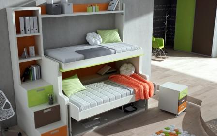Cama mesa abatible camas autoportantes litera con dos for Literas abatibles ikea