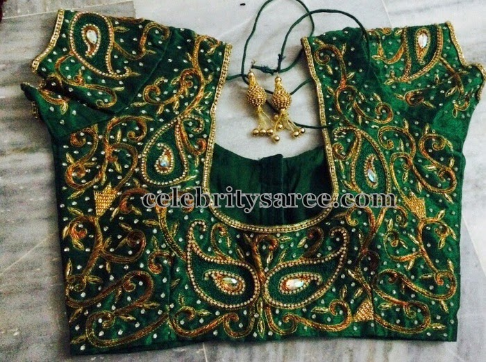 Green Blouse with All Over Maggam Work
