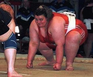 smešna slika: debela žena rvač