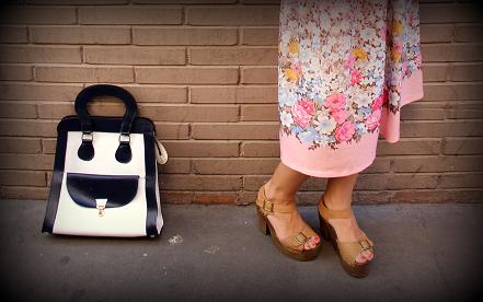 bolso vintage blanco y negro