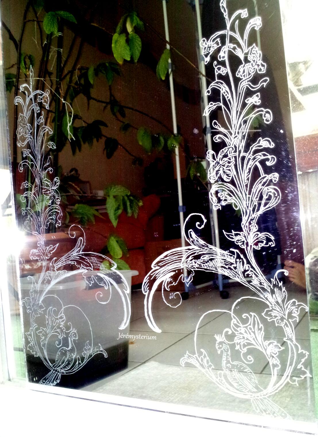 J r mysterium gravure d 39 un miroir n o art nouveau for Gravure sur miroir