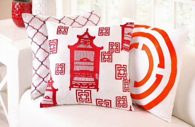 Red & Orange COCOCOZY Embroidered Pillows in Kip, Birdcage Toile and COCOCOZY Light