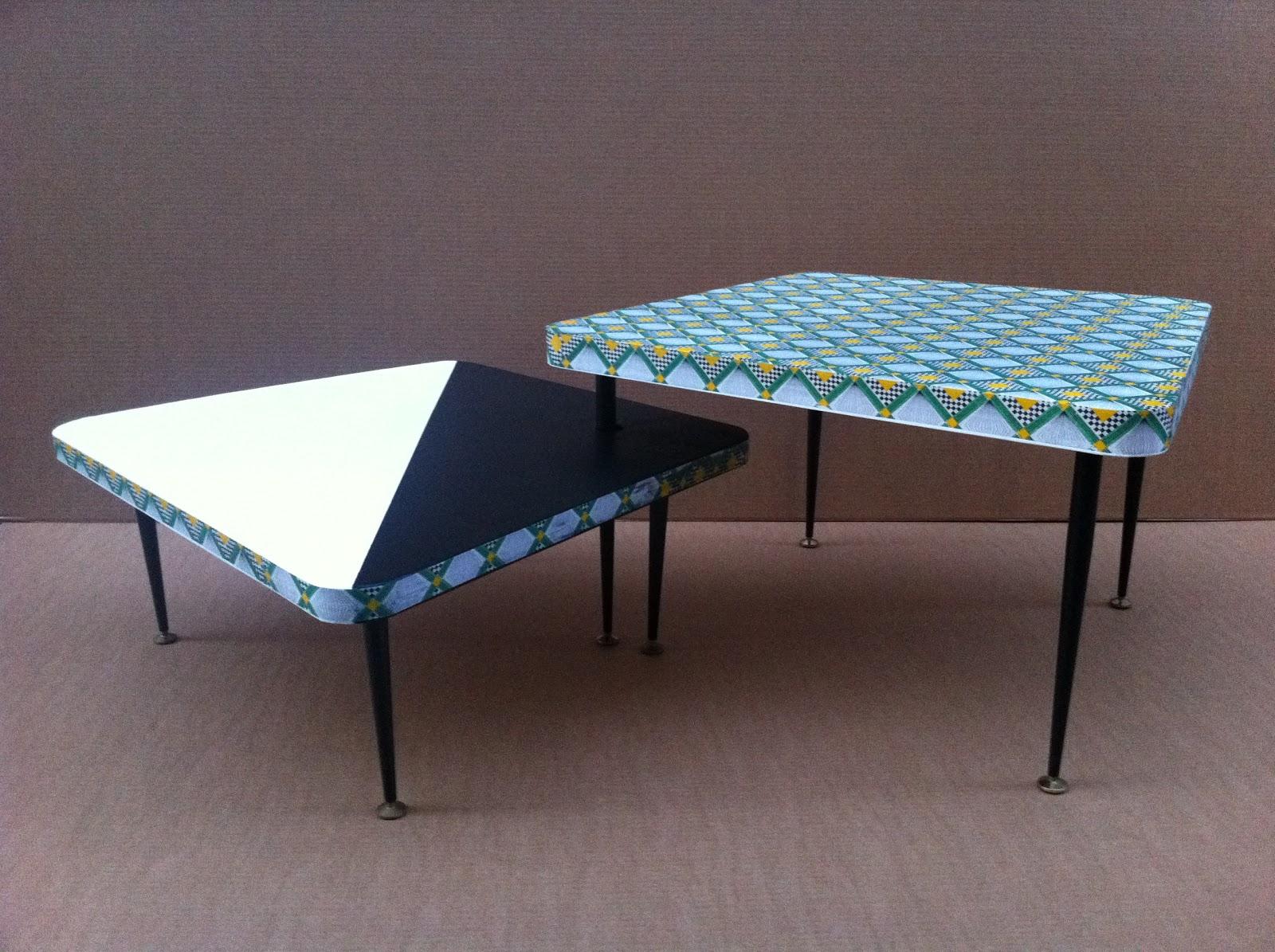 table basse en carton avec pieds en métal. table basse en carton motif géométrique fabriquée à marseille par juliadesign