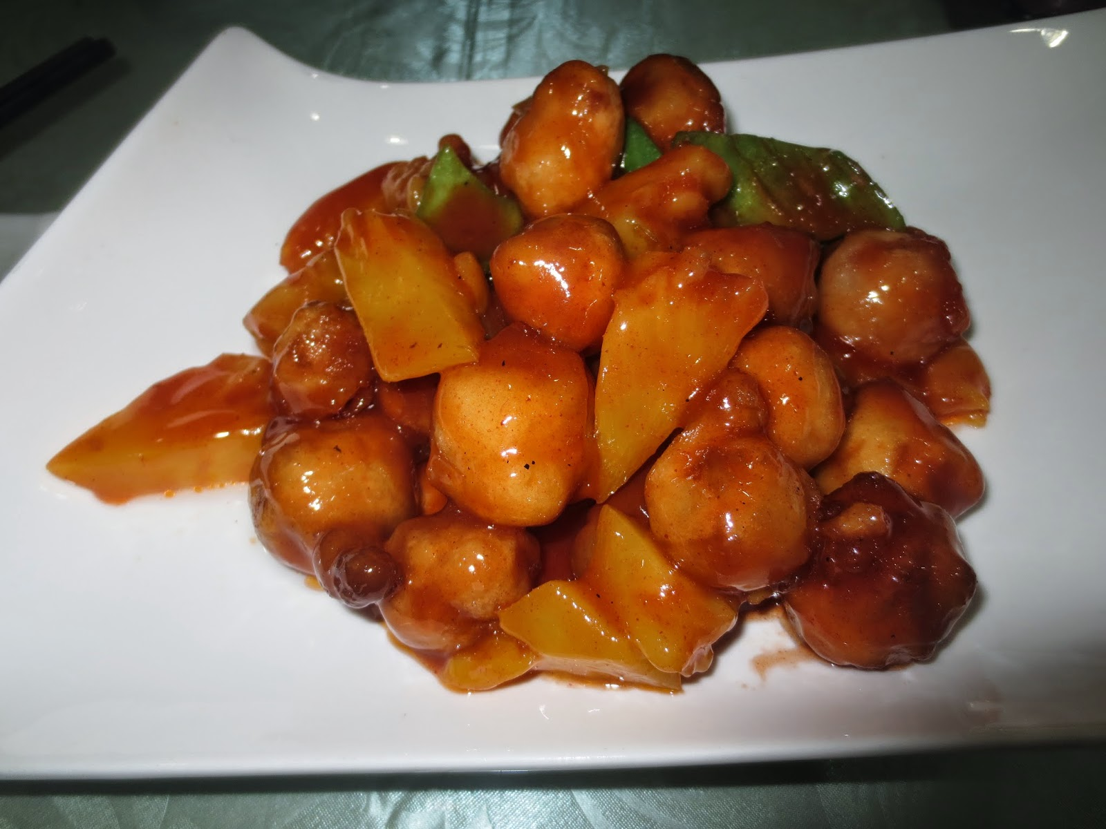 "Vegan sweet and sour ""pork"""