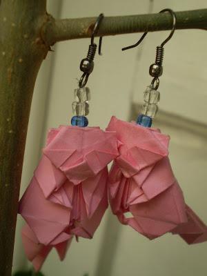 origami fülbevaló mosómedvés