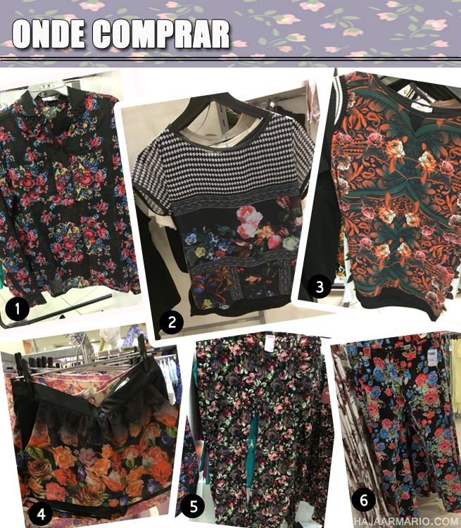 tendência dark floral moda estampa flores blog compras riachuelo marisa