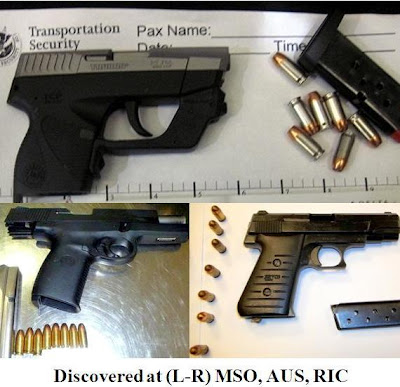 Three loaded firearms discovered at MSO, AUS and RIC.