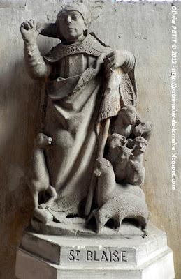 VEZELISE (54) - L'église Saint-Côme et  Saint-Damien (Intérieur) - Statue Saint-Blaise