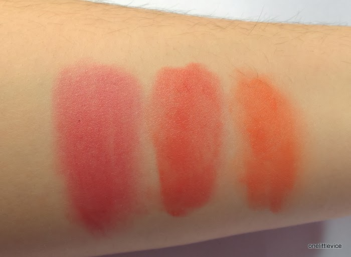 arm swatches three illamasqua blushers