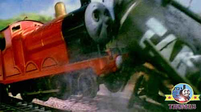 A large train crash sticky black road tar splash all over James the tank engine lovely red paintwork