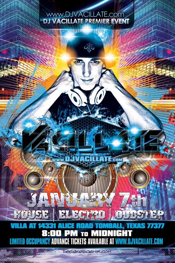 DJ Vacillate Logo Design And Flyer Design Frontside
