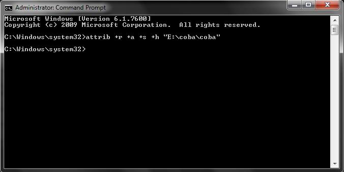 memasukkan attrib +r +a +s +h di cmd