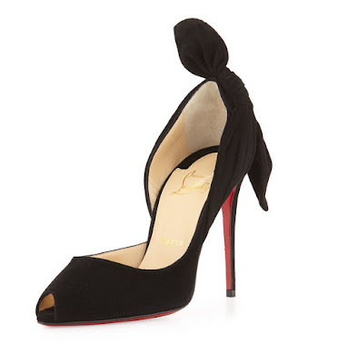 Christian Louboutin black high heeled d'orsay pump with bow at the back