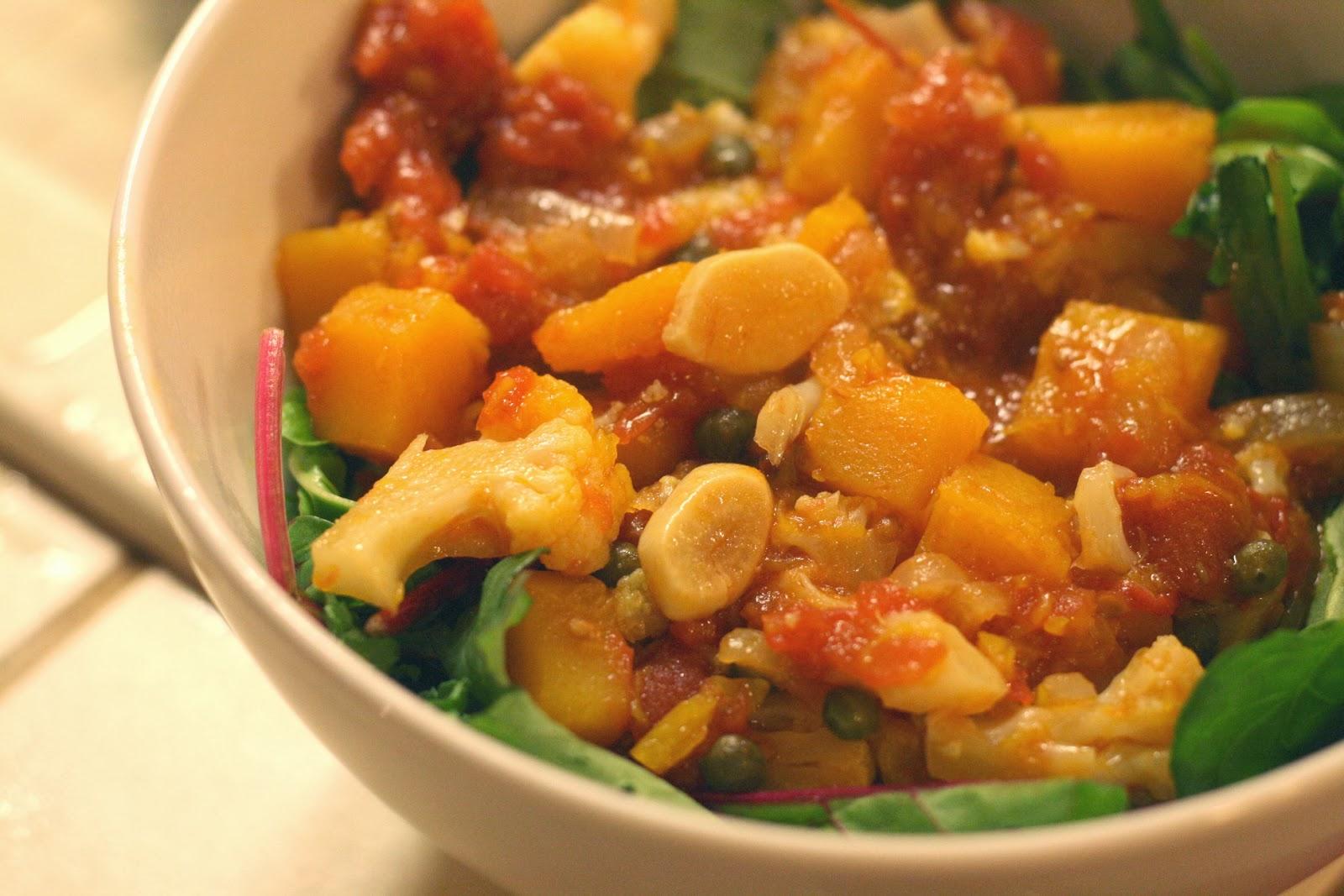 Laine's Recipe Box: Stewed Cauliflower, Butternut Squash, and Tomatoes