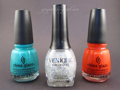 Venique Twinkling Glitter, China Glaze Turned Up Turquoise, China Glaze Surfin' for Boys