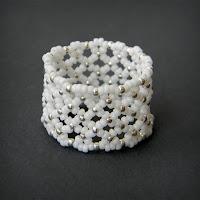 купить белое кольцо из бисера анабель россия
