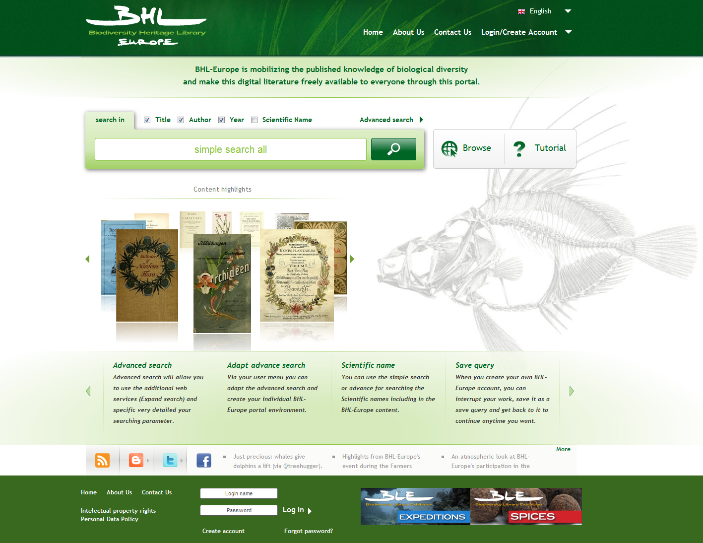 The BHL-Europe portal front page