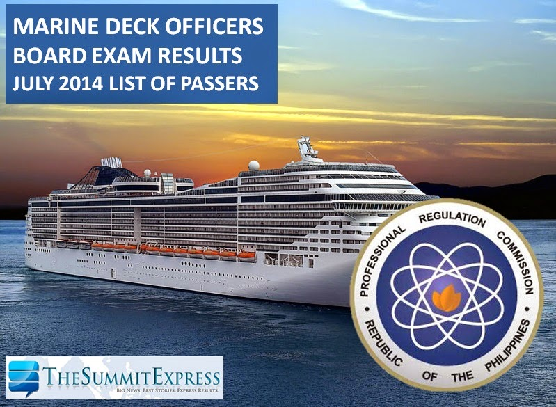 Marine Deck Officers board exam results July 2014