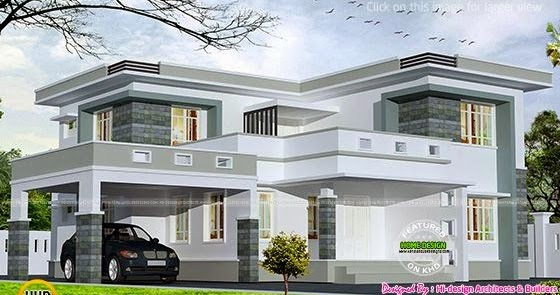 2875 square feet flat roof home kerala home design and for Terrace 6 indore images