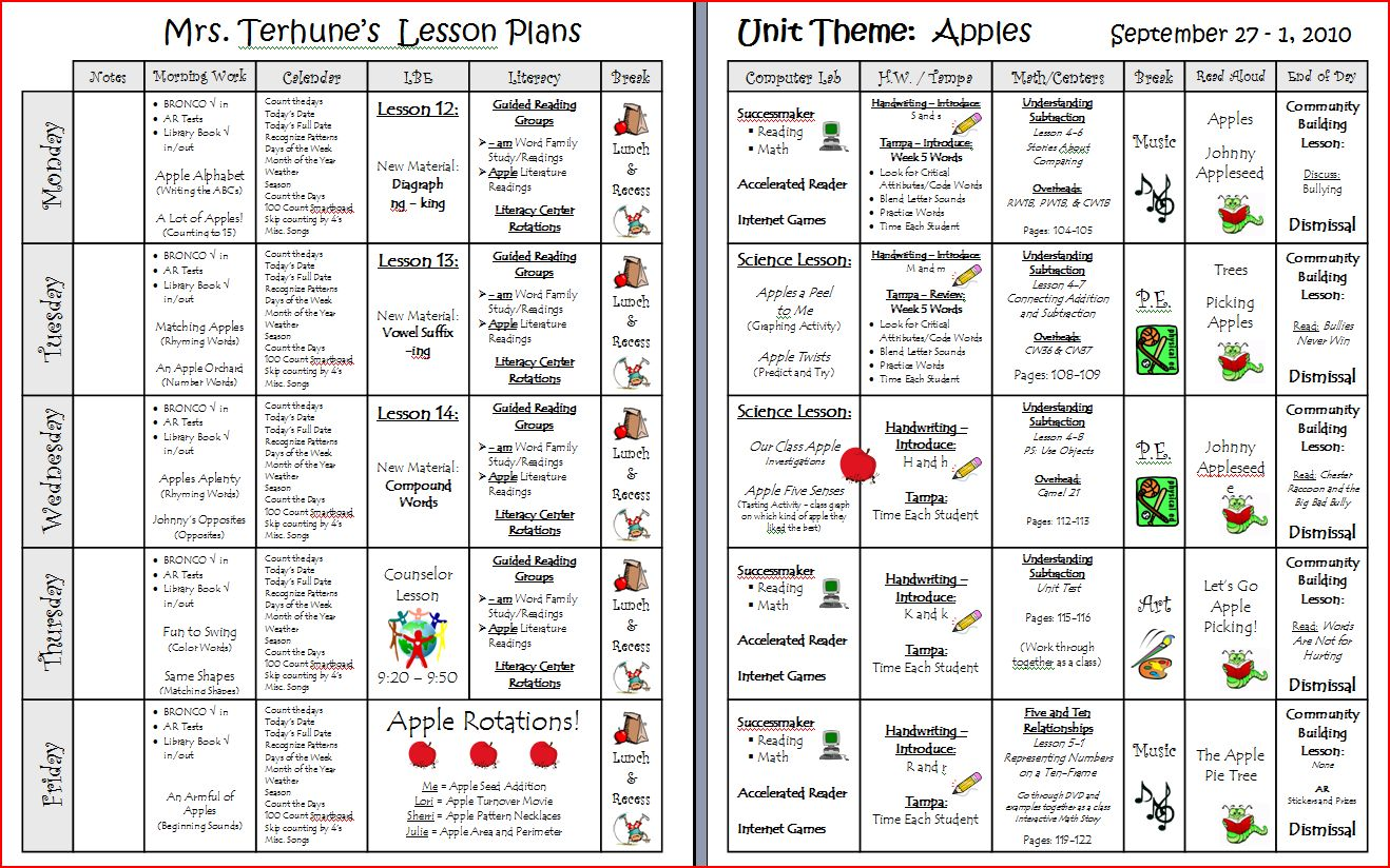 Teaching With Terhune Easy To Use Printable Lesson Plan Template - Monthly lesson plan template