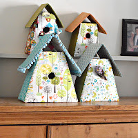 http://www.pillarboxblue.com/homemade-fabric-birdhouses/