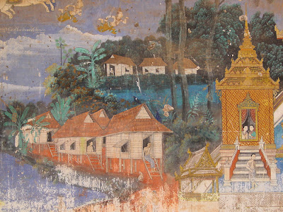 Ramayana mural, houses, Silver Pagoda, Phnom Penh, Cambodia