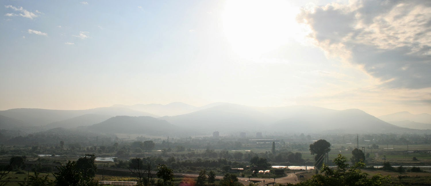 Hazy hills across the valley