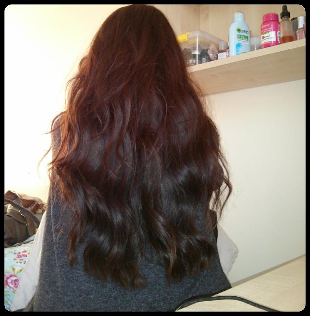Day 2 hair, scrunchie for healthy hair, L'oreal ever riche shampoo and conditioner, organix macadamia hair oil
