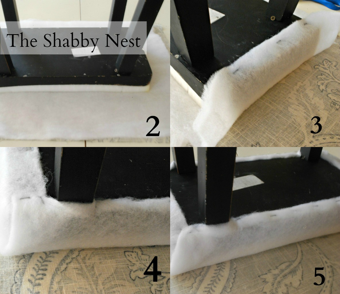 Repeat steps 2 and 3 with fabric. Make sure and pull the fabric tight to  avoid ripples. When you staple the fabric around the legs, try to get the  staples ... - The Shabby Nest: How To Upholster Barstools And Studio 5~