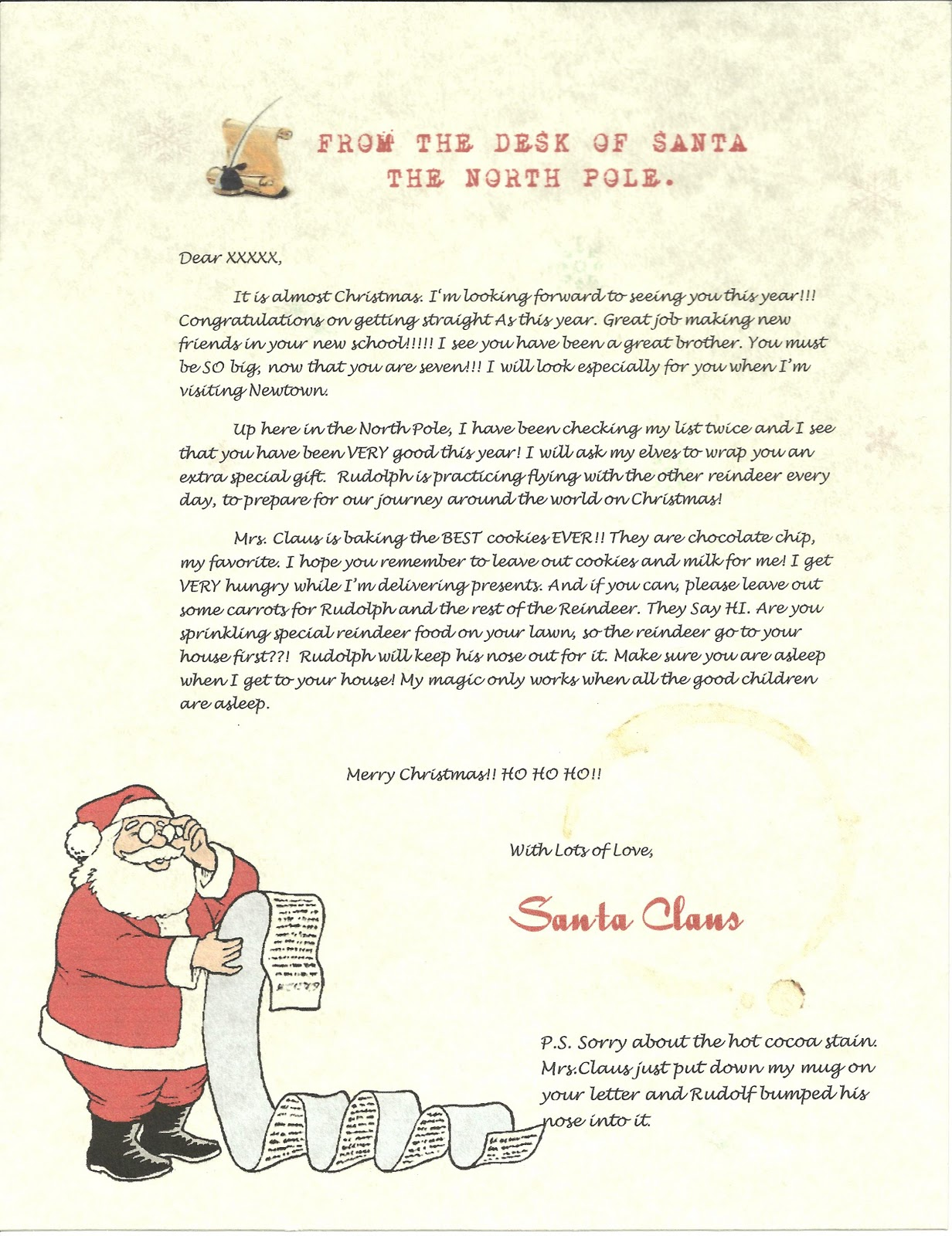 Wish A Letter From Santa Sample Letter And Envelope