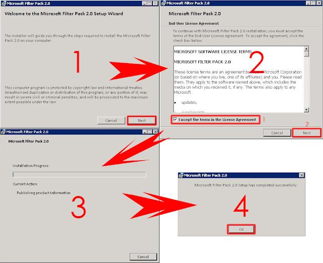 Instalación Microsoft Filter Pack y sus Service Packs.