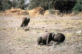 Abutre observa criança morrendo - o fotografo morreu 3 meses depois, vitima de alcoolismo e depressão