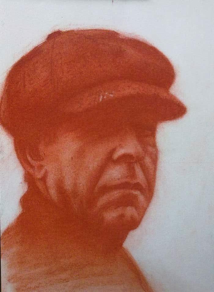 retrato masculino con sanguina