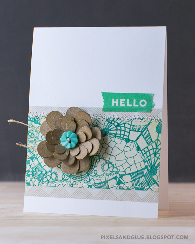 Hello card with flower by @pixnglue #happyscrappyfriends #cardmaking