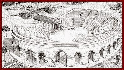 reconstrucción anfiteatro de Esparta, Esparta, dimastígosis, flagelar espartanos, Artemisa Ortia, Artemisa Orthia, Cicerón, espectáculo sangriento, espartano, lacedemonio, laconia, templo de Artemisa