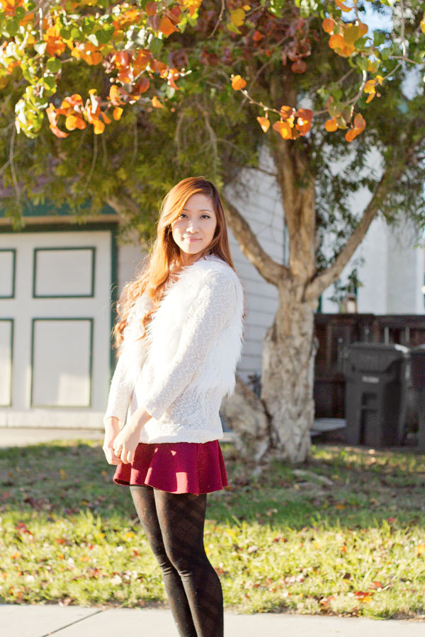 Outfit : Warm White & Maroon Christmas