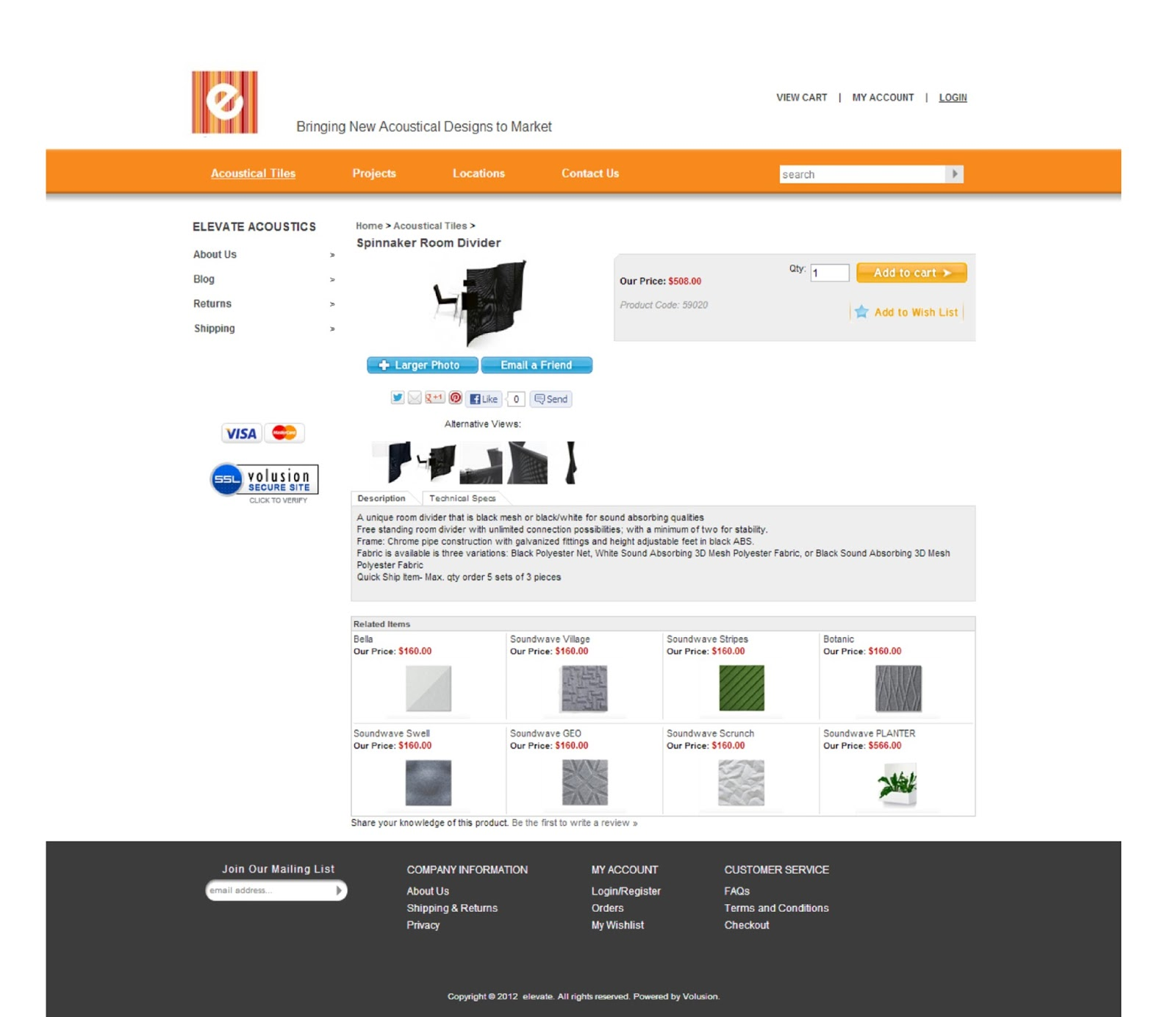 Acoustical product ecommerce web design aahha designs for Product design website