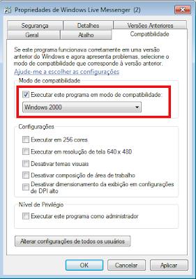 Janela de propriedades do MSN 2009