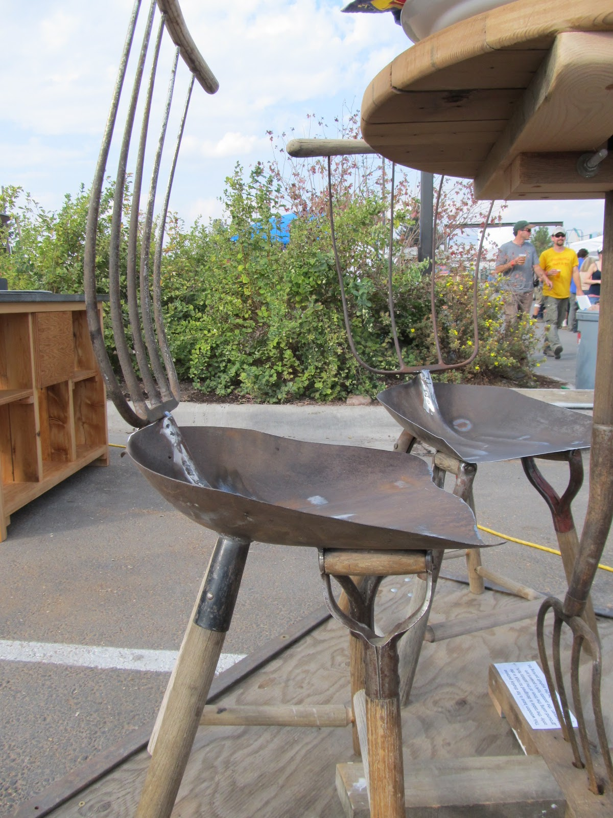 Montana Wildlife Gardener Repurposed Garden Tool Table: what are chairs made of